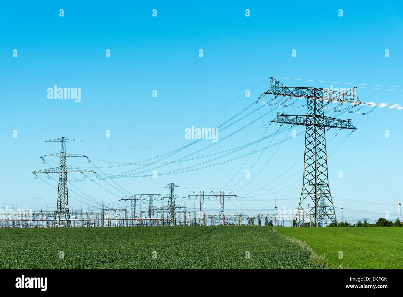 Relay station and transmission towers seen in Germany - Stock Image