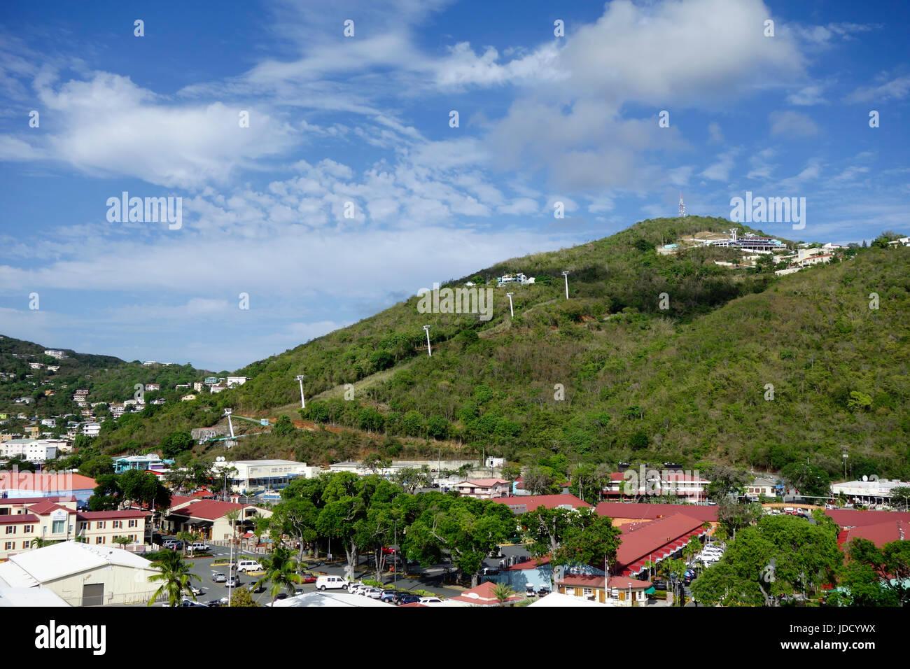 Cable car seen from cruise port at Charlotte Amalie, St Thomas, Caribbean, St. Thomas, USVI. Stock Photo