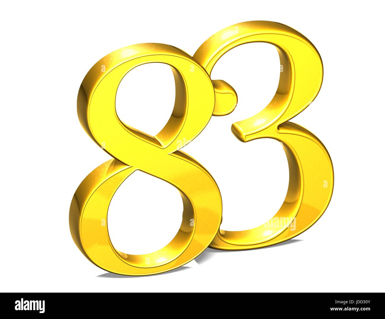 3D Gold Number eighty-three on white background
