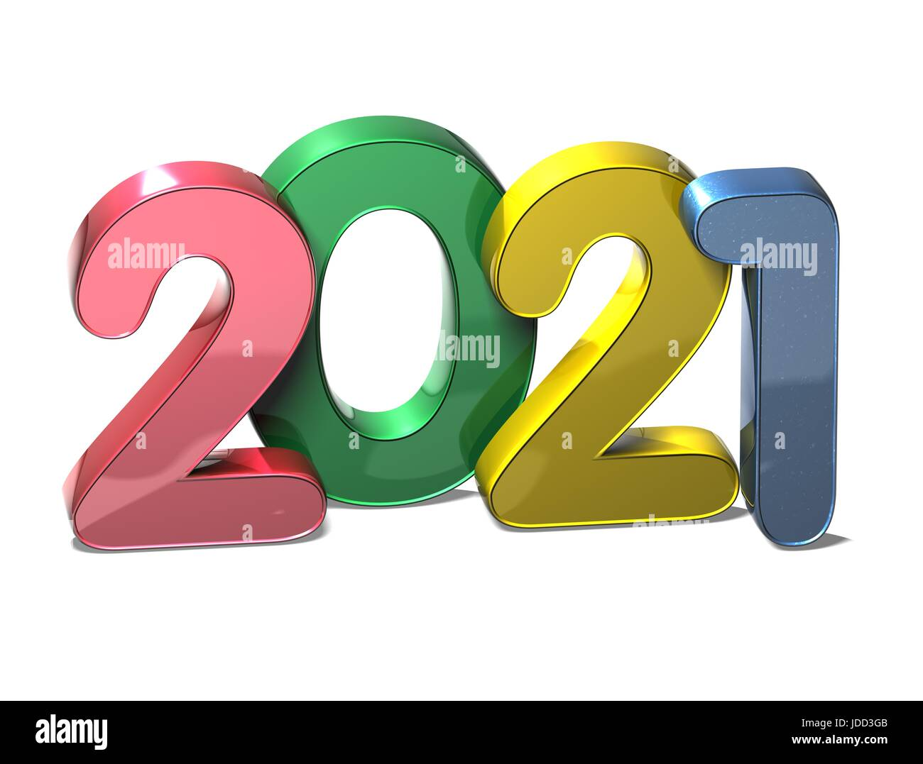 3D New Year 2021 on white background Stock Photo ...
