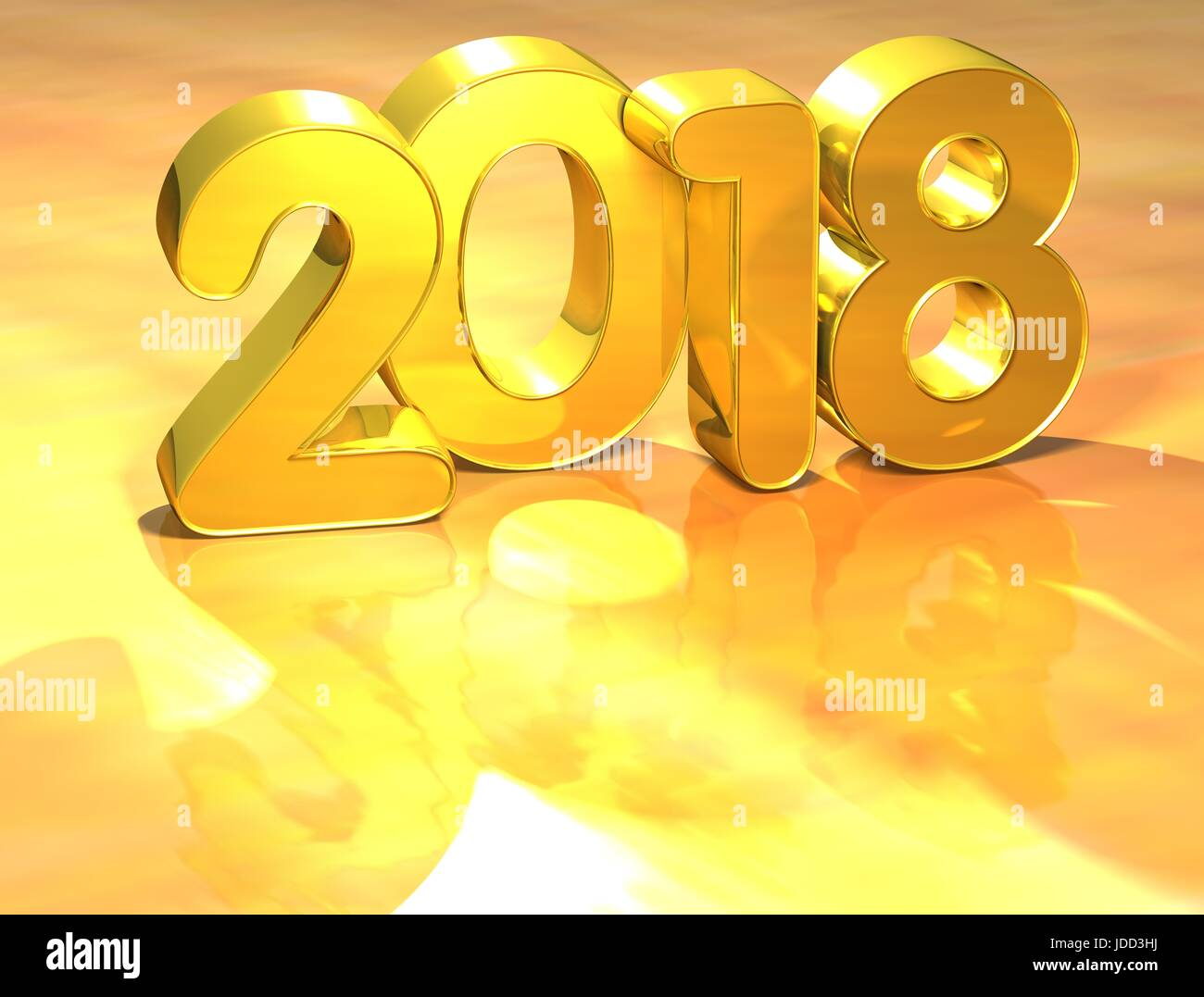 3d gold new year 2018 on white background