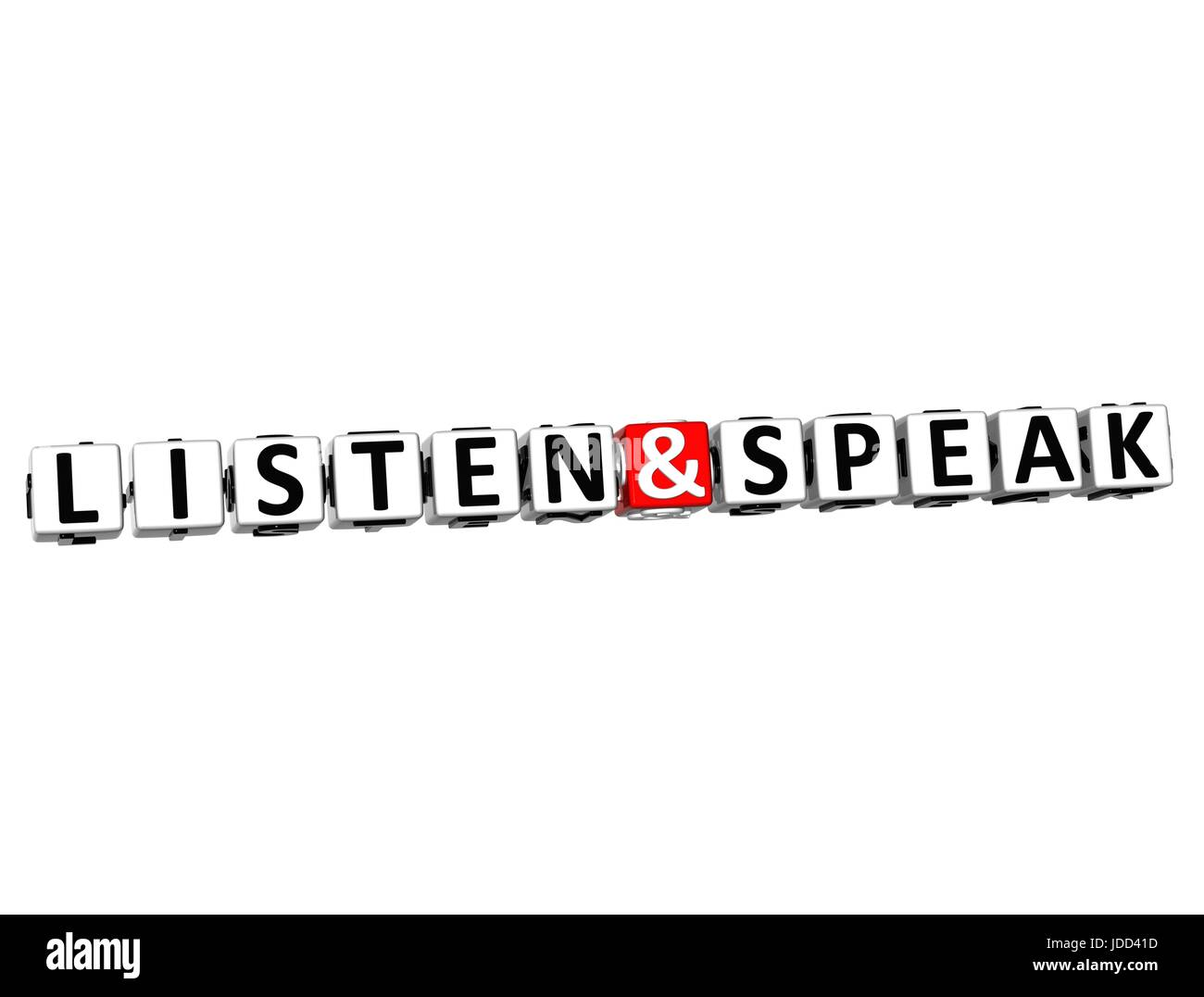 3D Listen And Speak Button Click Here Block Text over white background - Stock Image
