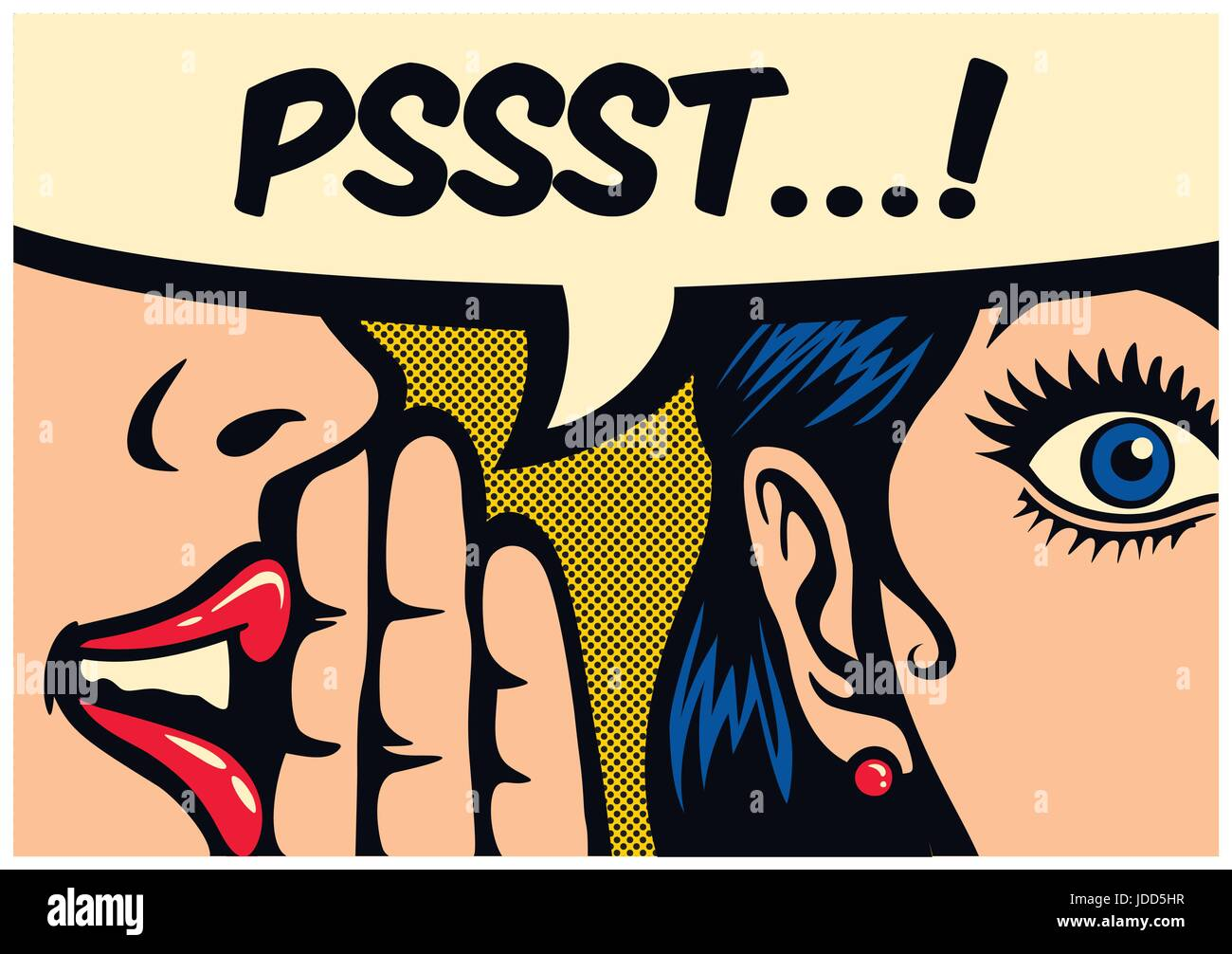 Pop Art style comic book panel gossip girl whispering in ear secrets with speech bubble, rumor, word-of-mouth concept - Stock Image