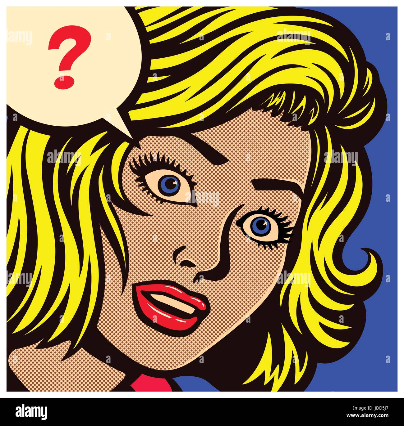 Pop art style comic book panel with confused, puzzled or perplexed woman and speech bubble with question mark vector - Stock Image