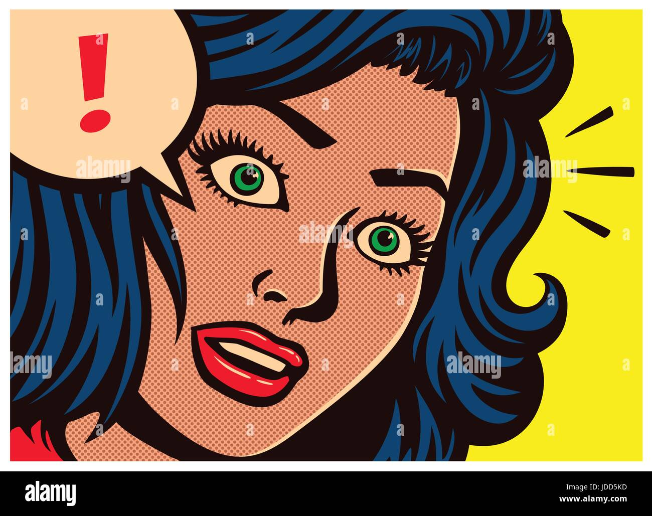 Pop art style comics panel surprised girl with blank expression and speech bubble with exclamation mark poster design - Stock Image