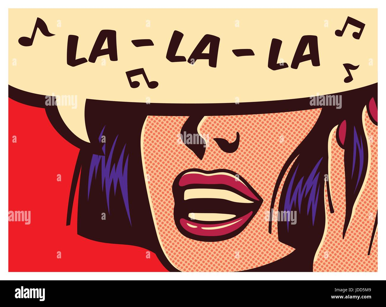 Pop art style comic book panel with woman singing carefree naive childish silly melody la la la in speech bubble - Stock Vector
