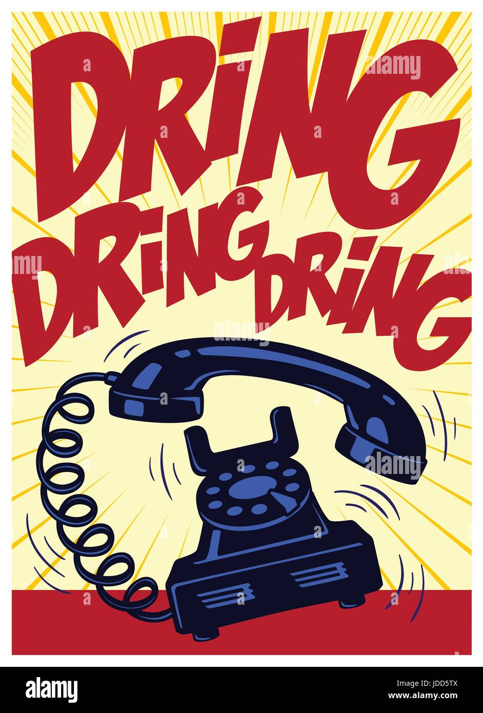 Retro phone ringing loudly vintage pop art comic book style vector ...