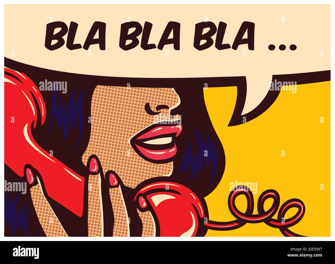 Pop art style comic book panel with girl talking nonsense bla bla on vintage phone gossip chatter in speech bubble - Stock Image