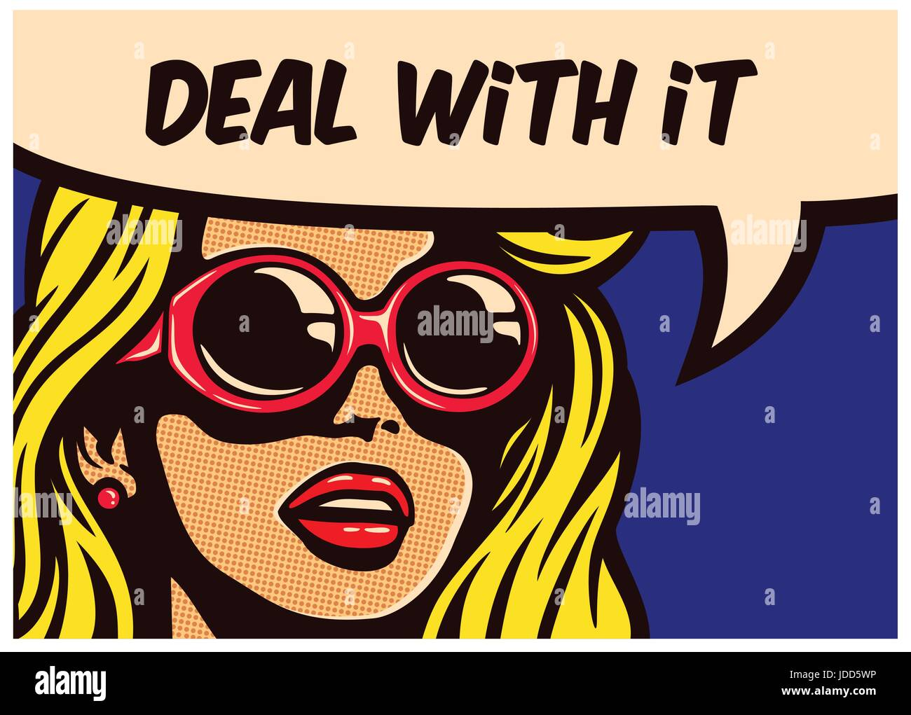 Deal with it! Vintage pop art comic book panel cool imperturbable cynical indifferent girl with sunglasses with - Stock Image