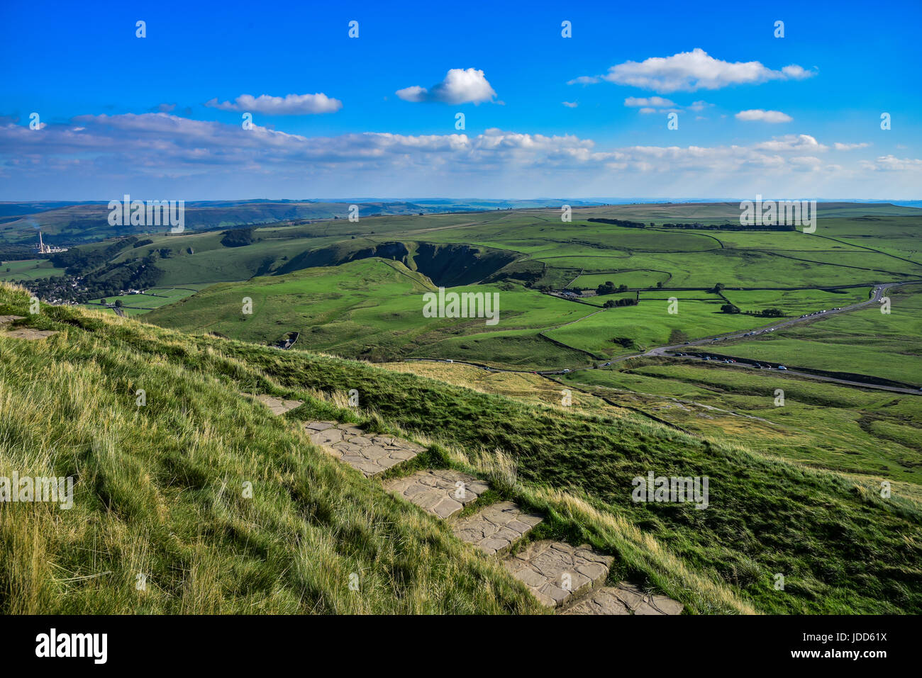 Rolling english countryside at Peak District National Park - Stock Image