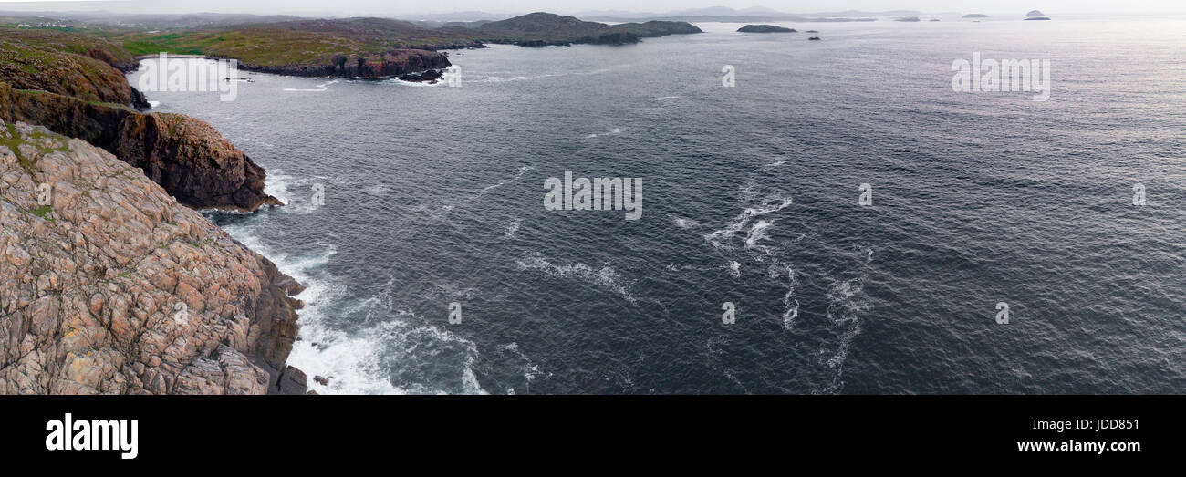 Aerial panorama from Garenin on Lewis, Outer Hebrides, looking south over the islands. - Stock Image