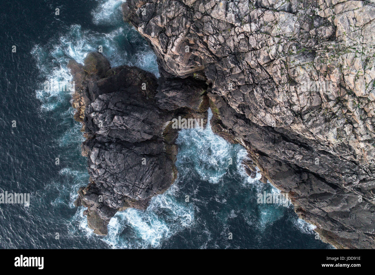 Aerial view of sea cliffs at Garenin, Lewis, Outer Hebrides - Stock Image