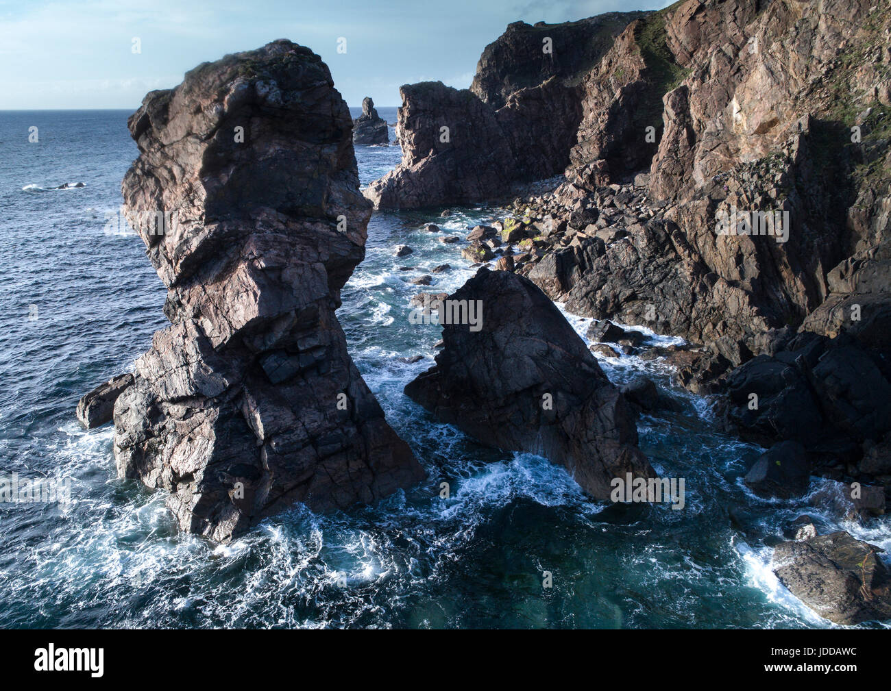 Aerial views of Dalmore Beach, Dail Mor, Carloway  Lewis, Outer Hebrides - Stock Image
