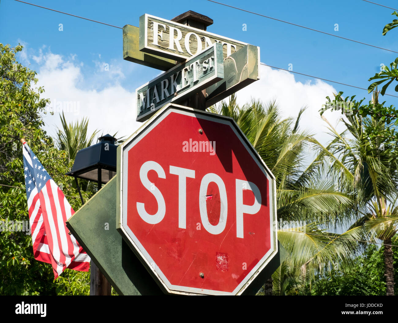 Street sign at the junction of Front street and Market Street, Maui, Hawaii. - Stock Image