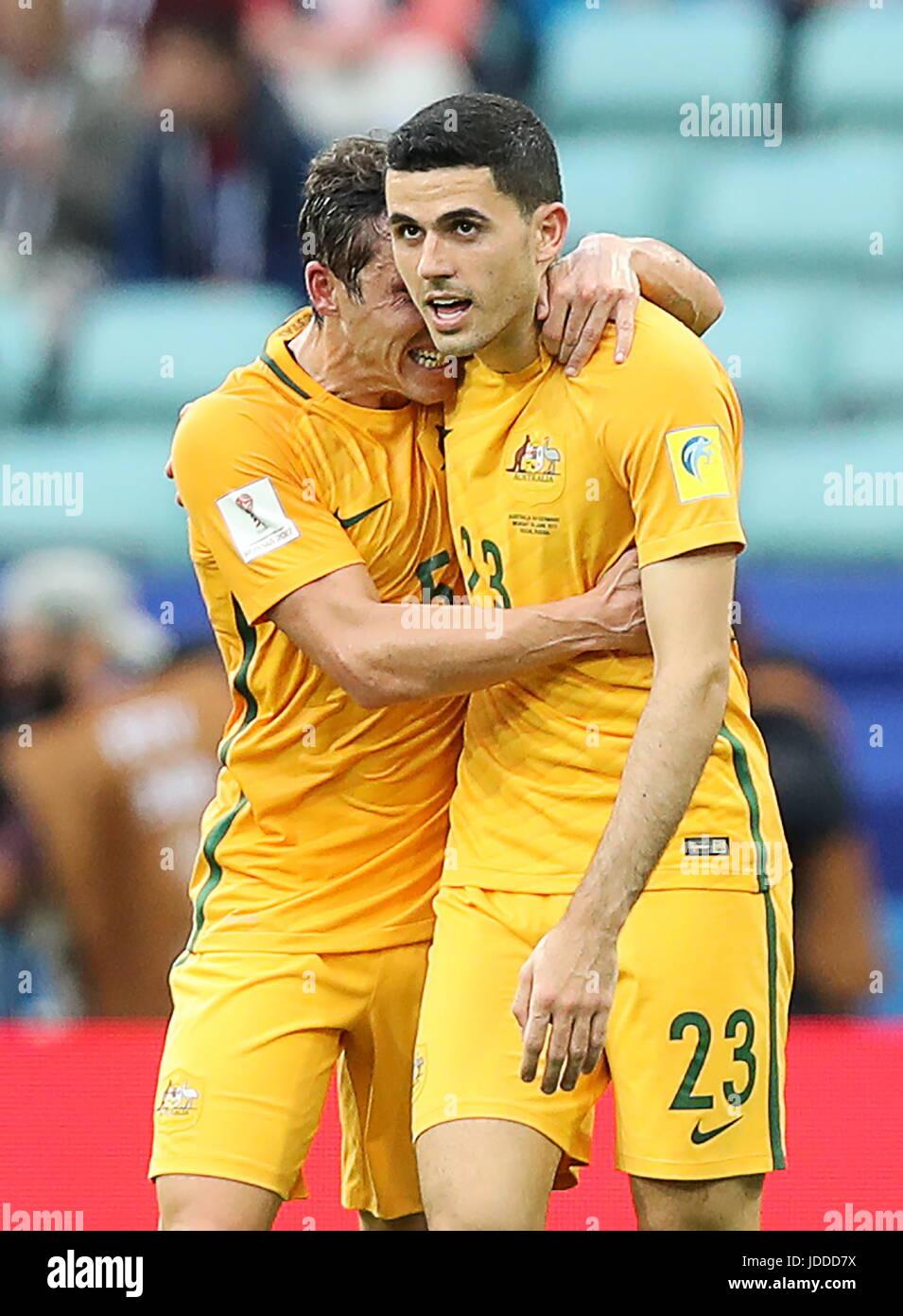 Sochi, Russia. 19th June, 2017. Australia's Tomas 'Tom' Rogic (R) celebrates scoring in the 2017 FIFA - Stock Image