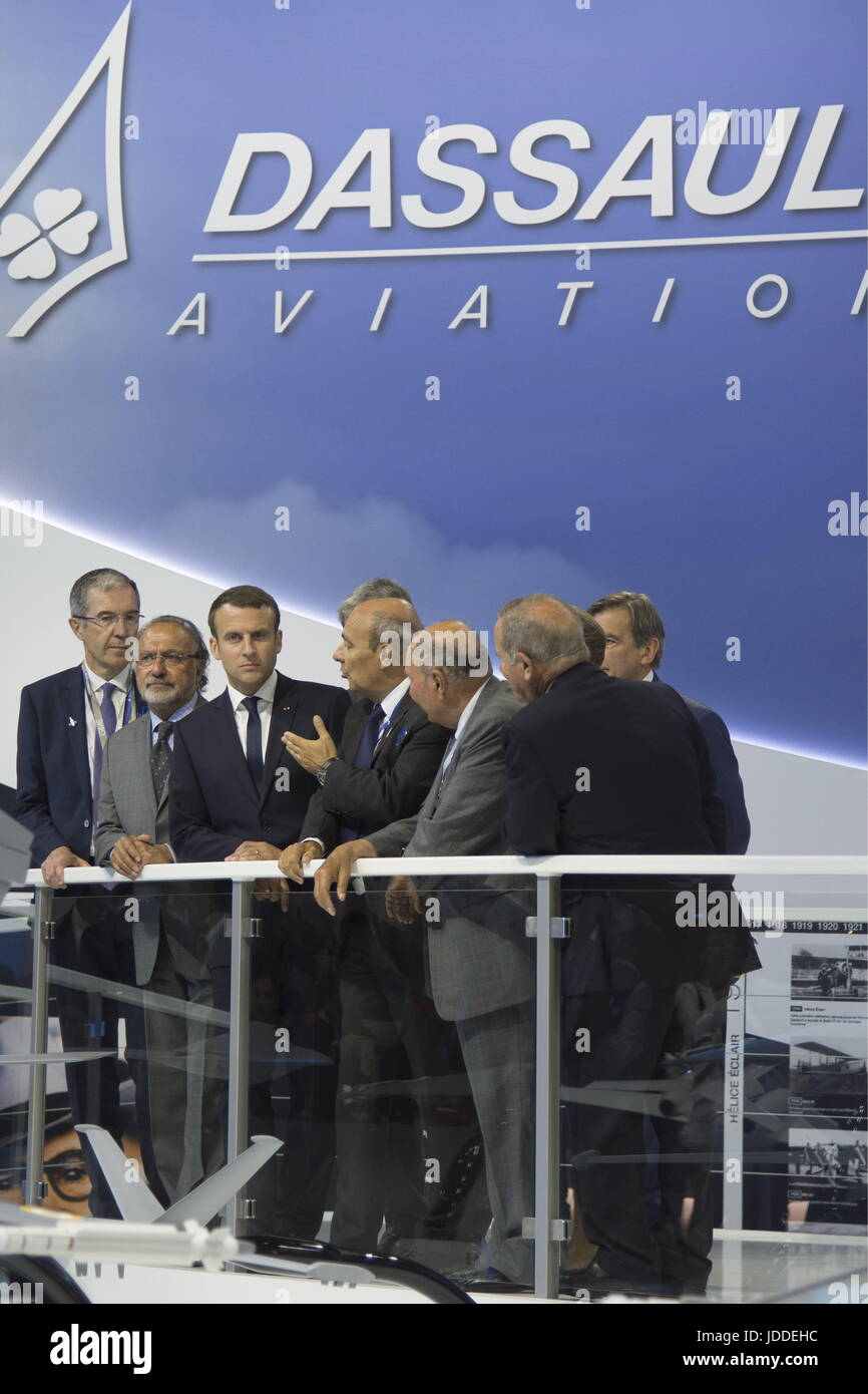 Le Bourget, France. 19th June, 2017. Olivier Dassault (2nd L), a member of the French National Assembly, France's Stock Photo