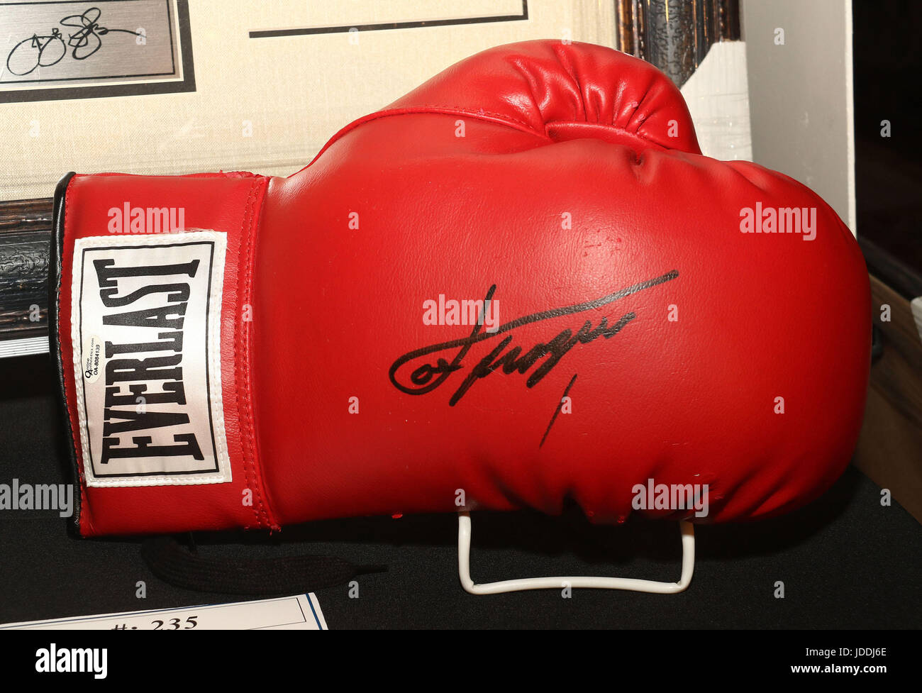 New York, New York, USA. 19th June, 2017. A view of the signed Joe Frazier boxing glove which will be auctioned - Stock Image