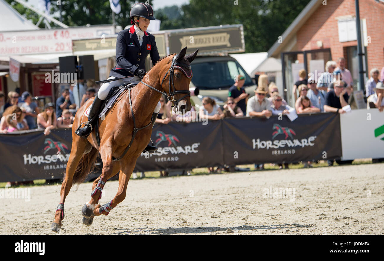 Luhmuehlen, Germany. 18th June, 2017. British eventing rider Sarah Bullimore and her horse Lilly Corinne in action - Stock Image