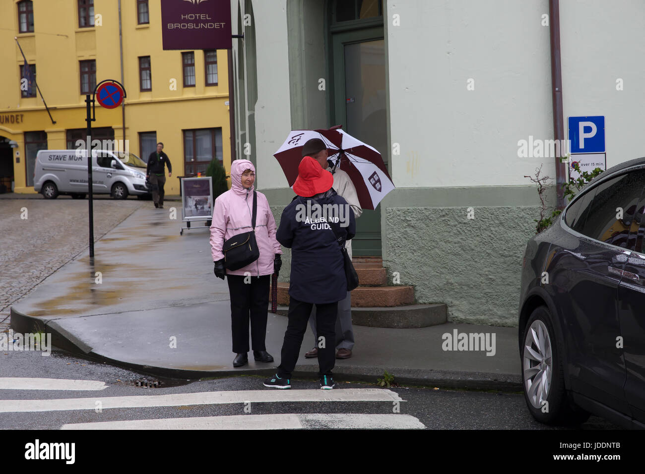 Weather, Norway, Grey and Dismal start in Alesund Credit: Keith Larby/Alamy Live News - Stock Image