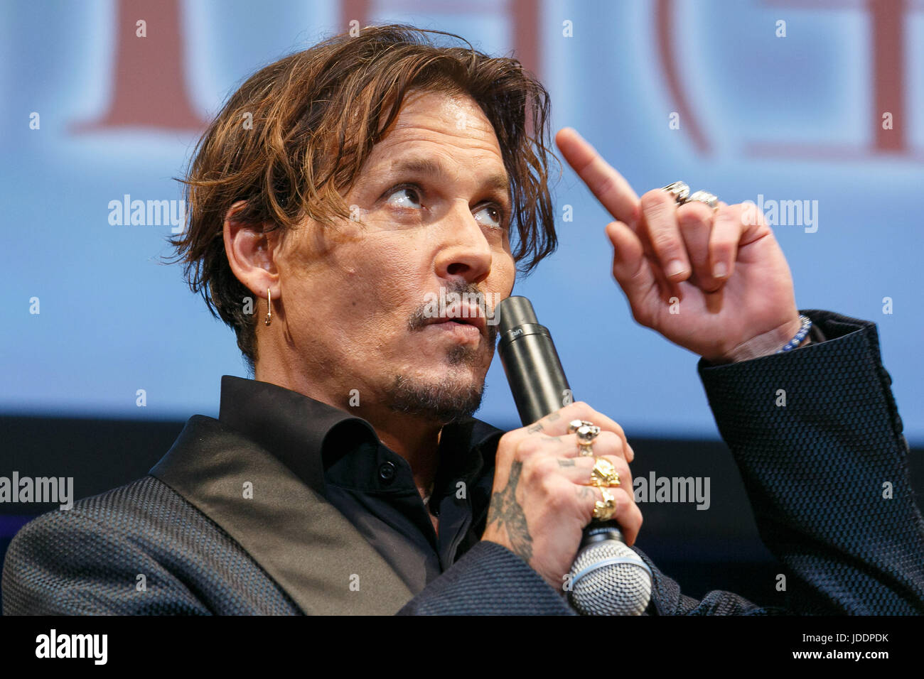 Tokyo, Japan. 20th June, 2017. American actor Johnny Depp speaks during the premiere for the film Pirates of the - Stock Image