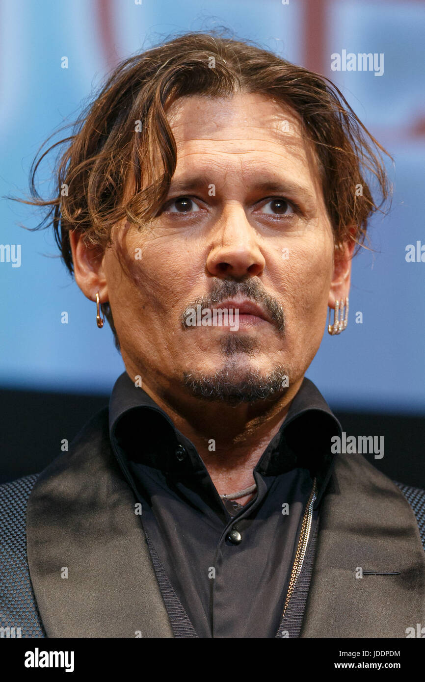 Tokyo, Japan. 20th June, 2017. American actor Johnny Depp attends the premiere for the film Pirates of the Caribbean: - Stock Image