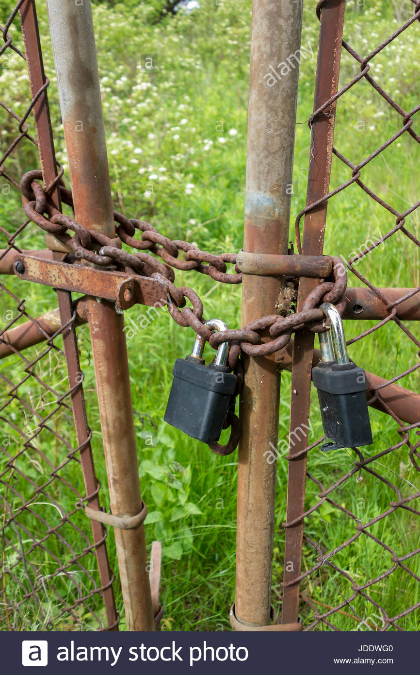 Padlocks on fence gate. lock, locked, padlock, secure, keep out,  concept, padlocked, closed, protection, security, - Stock Image