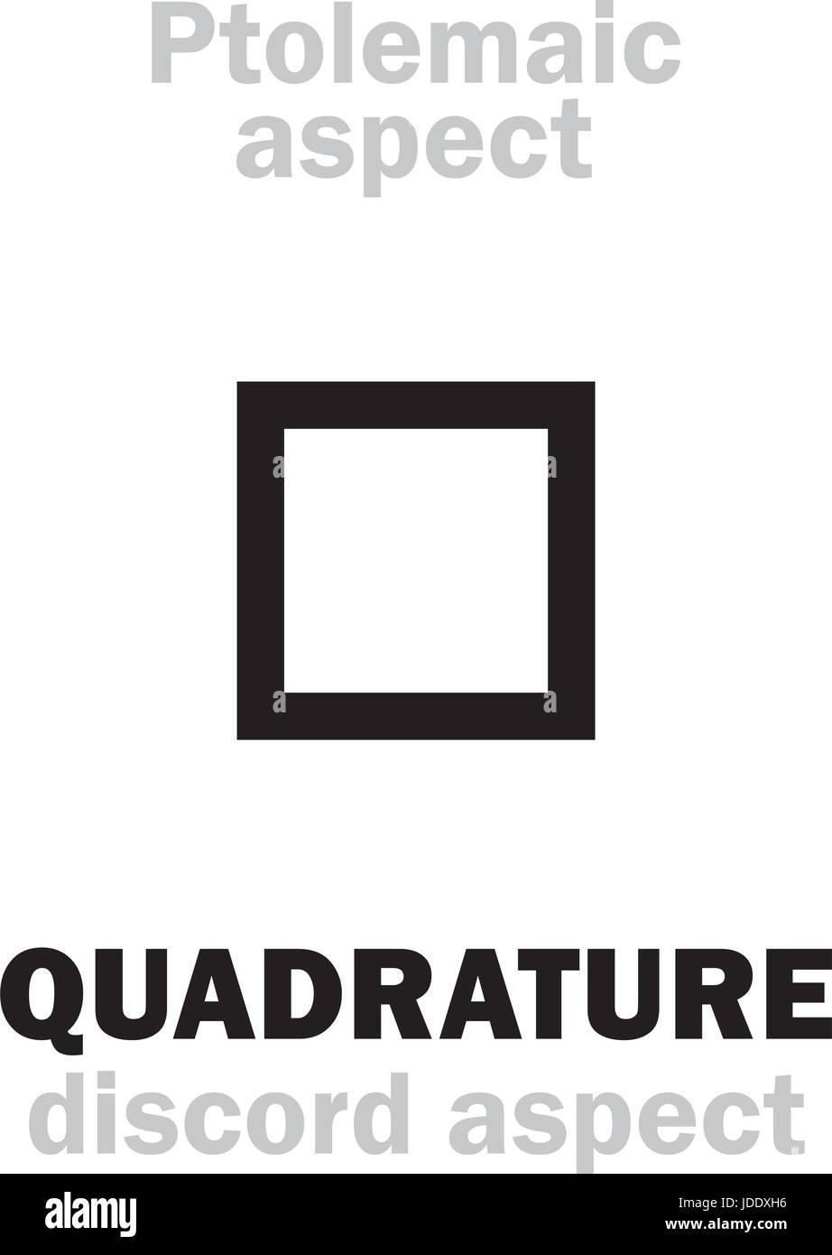 Astrology Alphabet: QUADRATURE (90°), classic major Ptolemaic discordant aspect. Hieroglyphics character sign - Stock Image