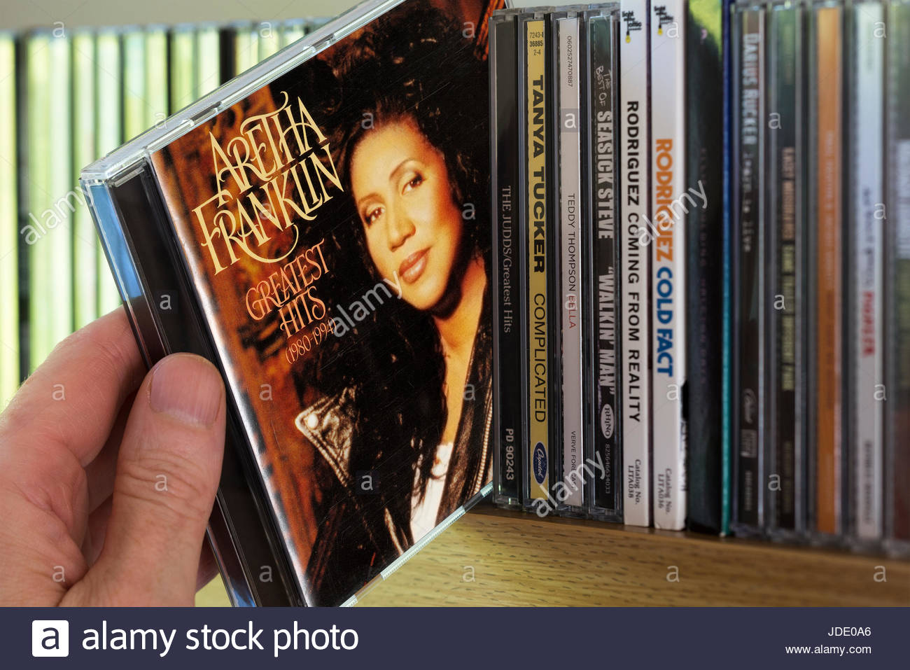 Aretha Franklin Greatest Hits 1980 1994 CD Being Chosen From A Shelf Of Other CDs Dorset England