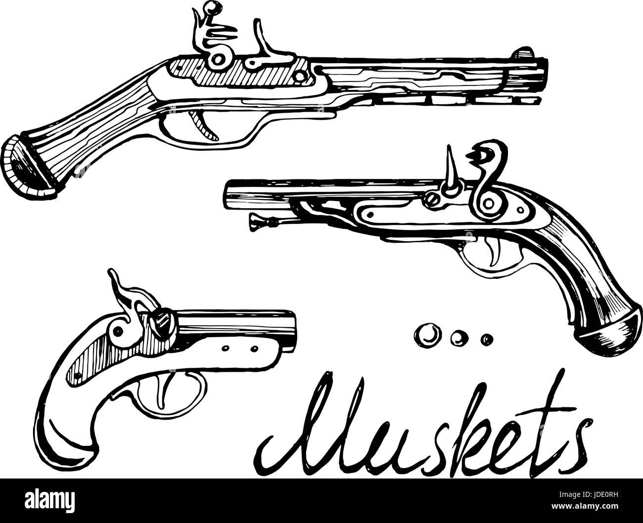 Muskets set different guns - Stock Vector