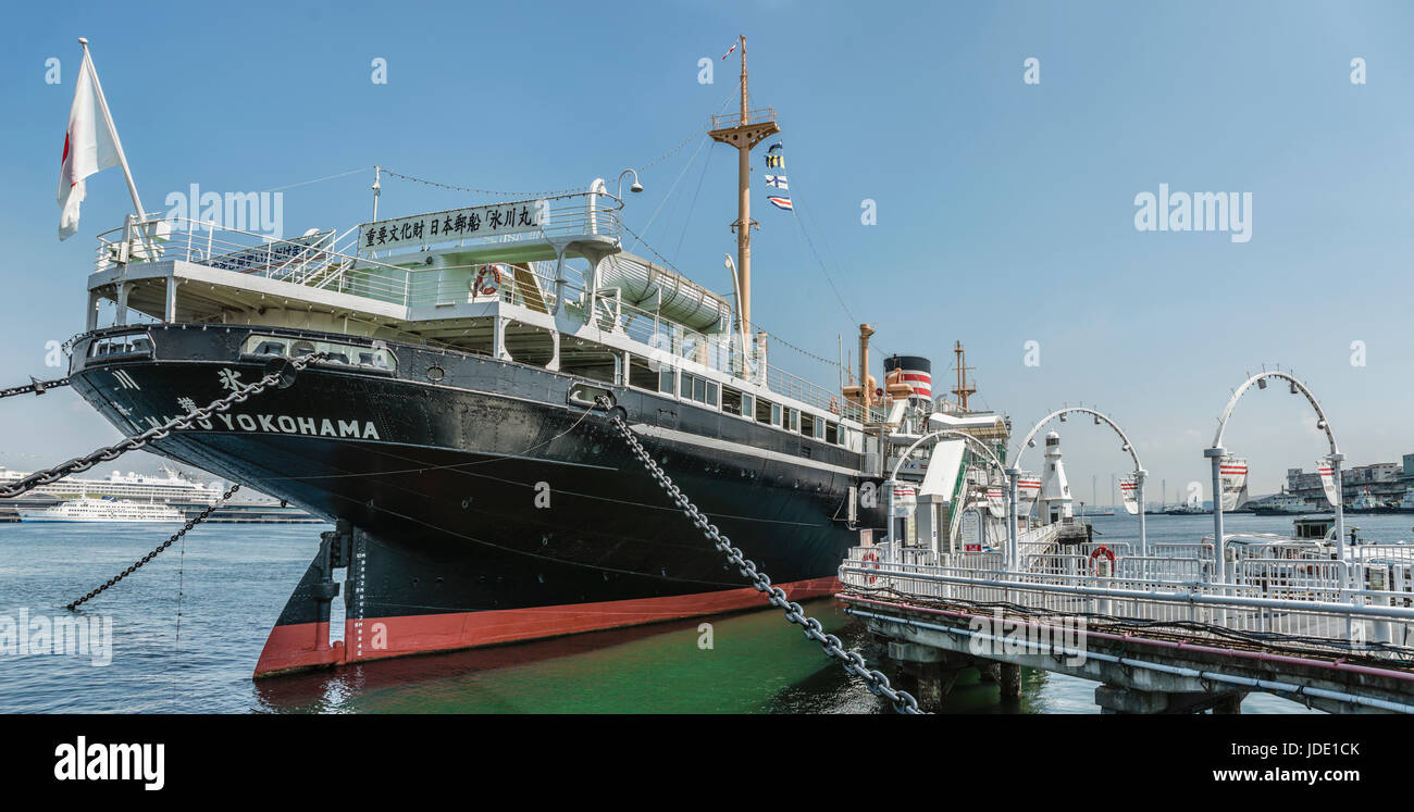 Hikawa Maru is a Japanese ocean liner that Yokohama Dock Company built for NYK Line in 1929. She is permanently - Stock Image