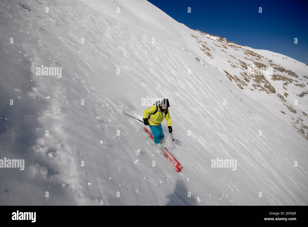 Skier off piste on the back of the Grand Monte, heading for the Argentiere Glacier - Stock Image