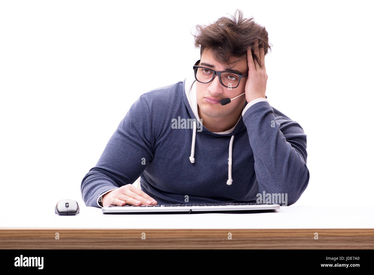 Hacker isolated on the white background - Stock Image