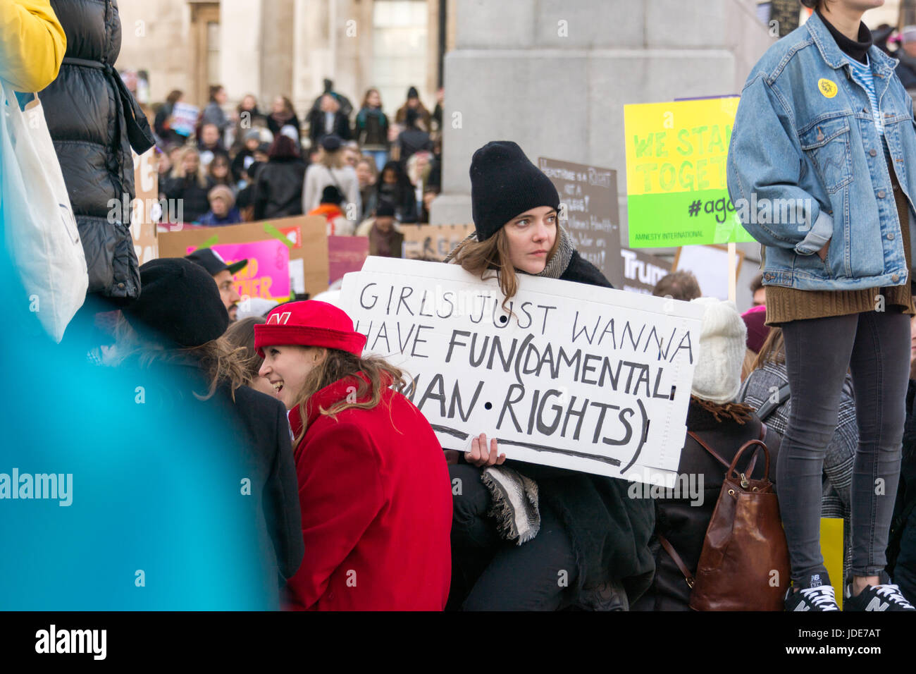 Women's March against Trump, got all my sisters with me sign - Stock Image