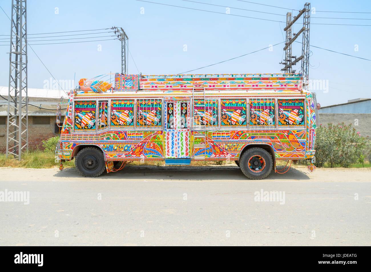 Decorated Traditional Pakistani Bus - Stock Image