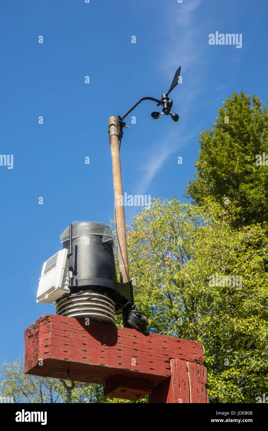 Solared powered weather station at the Bellevue Demonstration Garden in Bellevue, Washington, USA.  It appears to - Stock Image