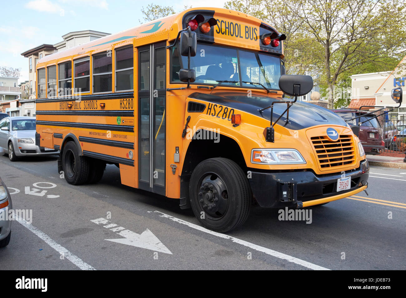 bluebird yellow Boston public schools school bus USA - Stock Image
