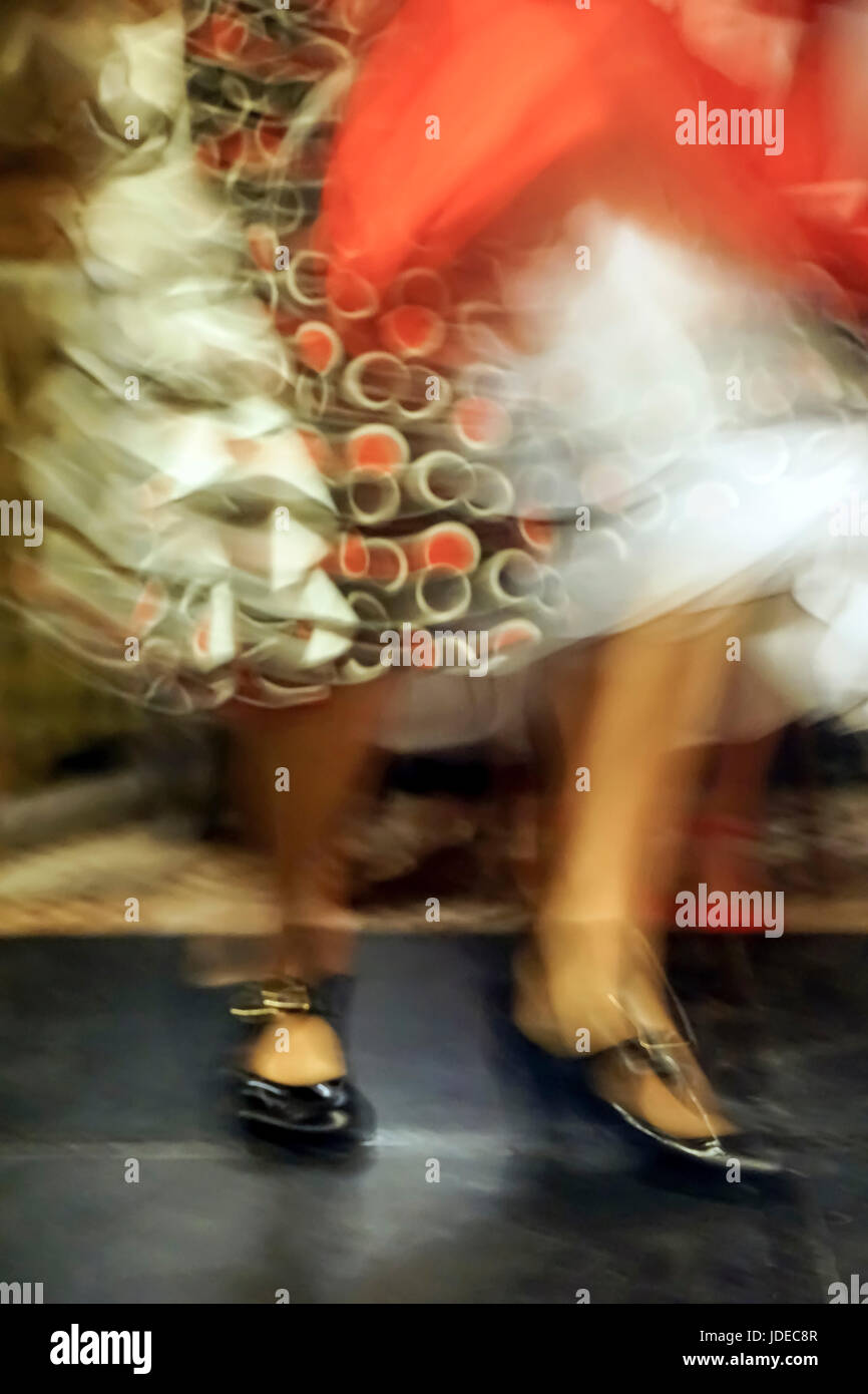 Flamenco dancer legs and feet in motion - Stock Image