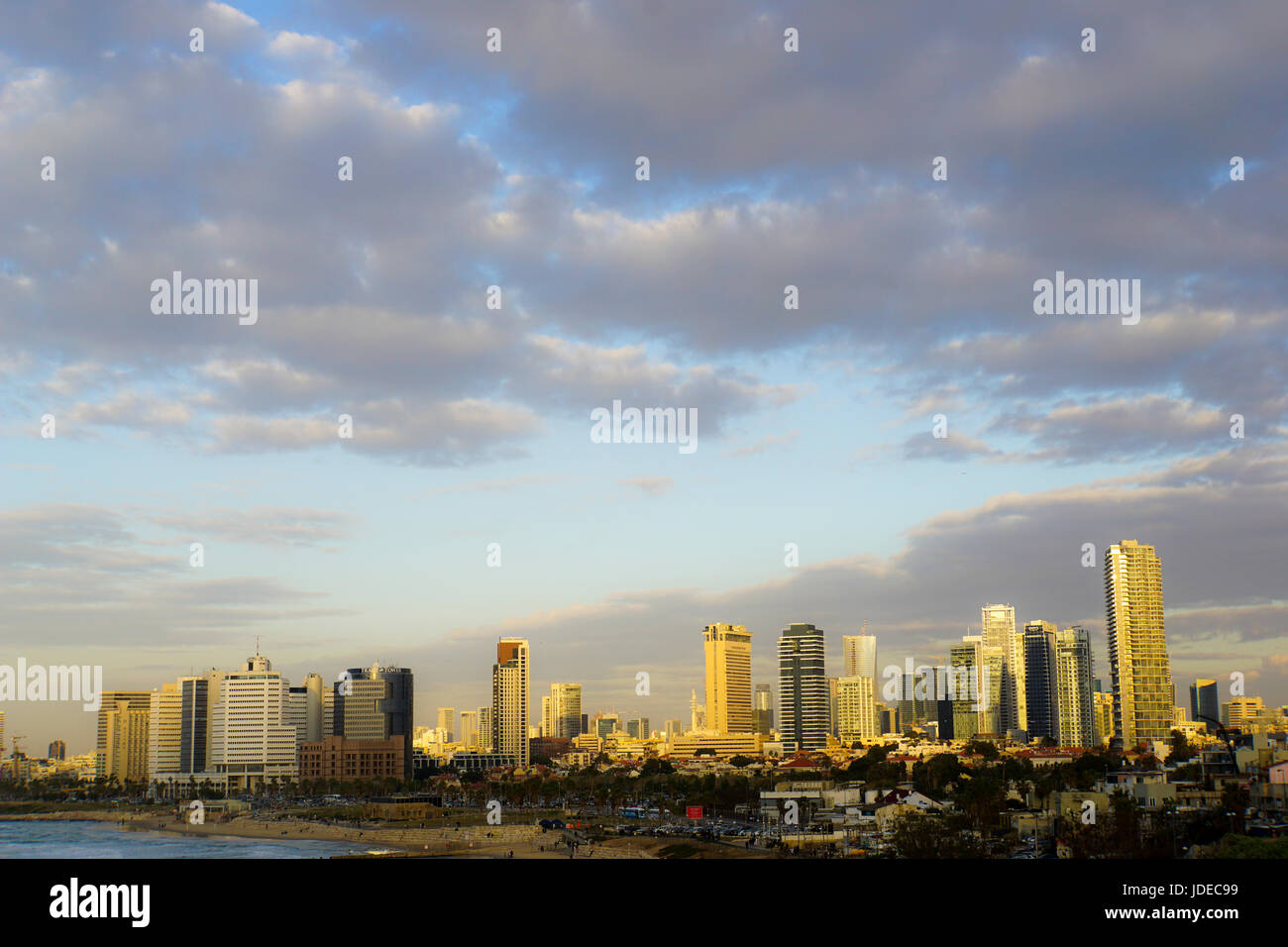 Israel,Tel Aviv beach front and skyline as seen from south, from Jaffa - Stock Image