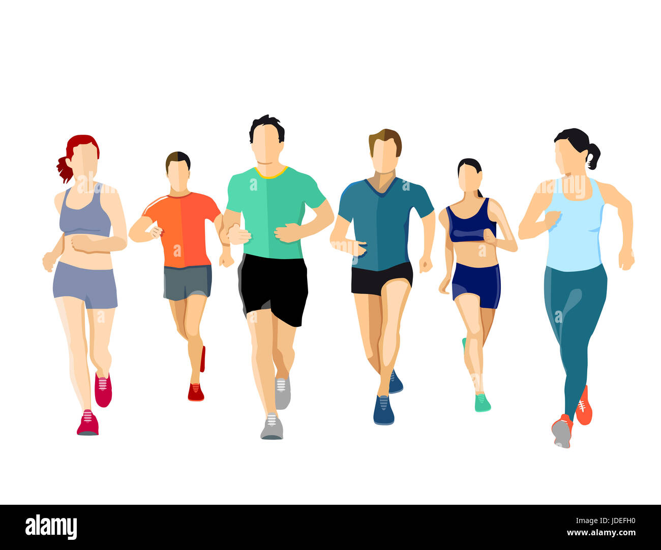 runner, run, walk, marathon, people, group, race, fitness, health, human, speed, quickness, female, winner, color, - Stock Image