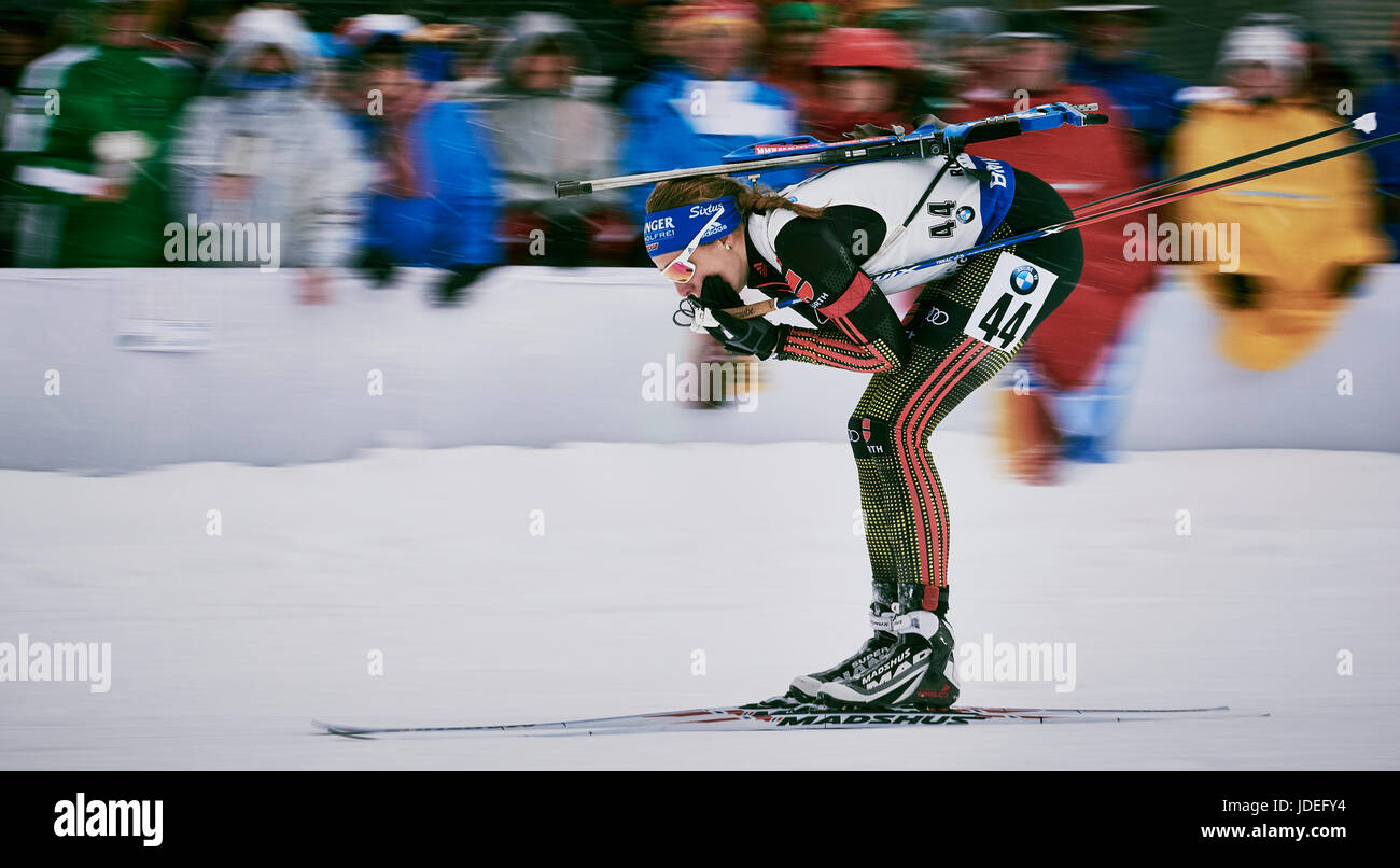 Vanessa Hinz at the BMW IBU Biathlon World cup Ruhpolding 2017 during the woman's sprint race. - Stock Image