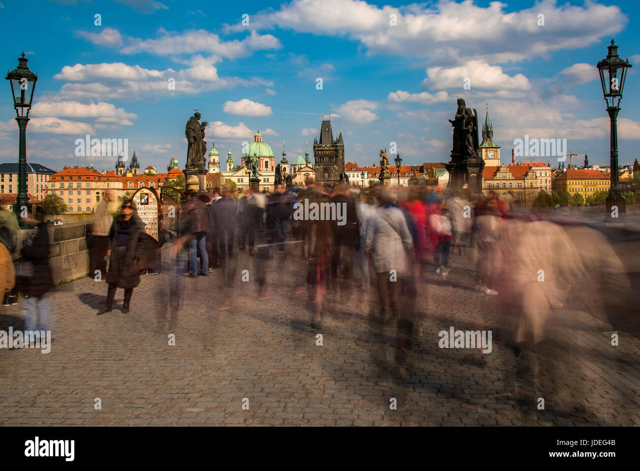 Crowds of tourists on Charles Bridge, Prague, Bohemia, Czech Republic - Stock Image