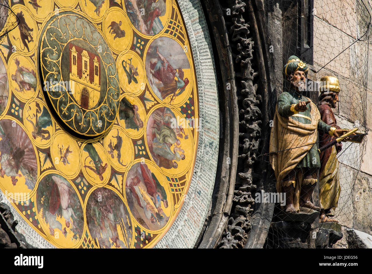 Close-up view of the calendar plate of the Prague astronomical clock, Prague, Bohemia, Czech Republic - Stock Image