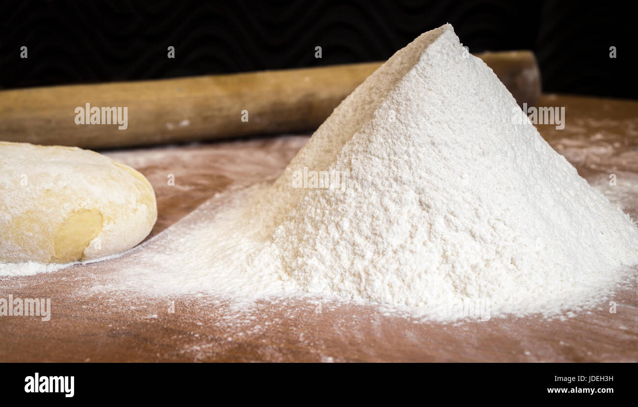 Sifted flour on the kitchen table closeup Stock Photo 145994229 Alamy