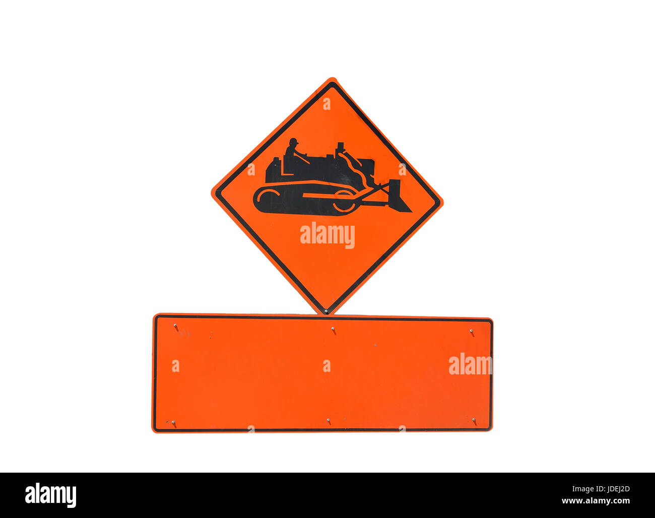 Construction tractor warning sign - Stock Image
