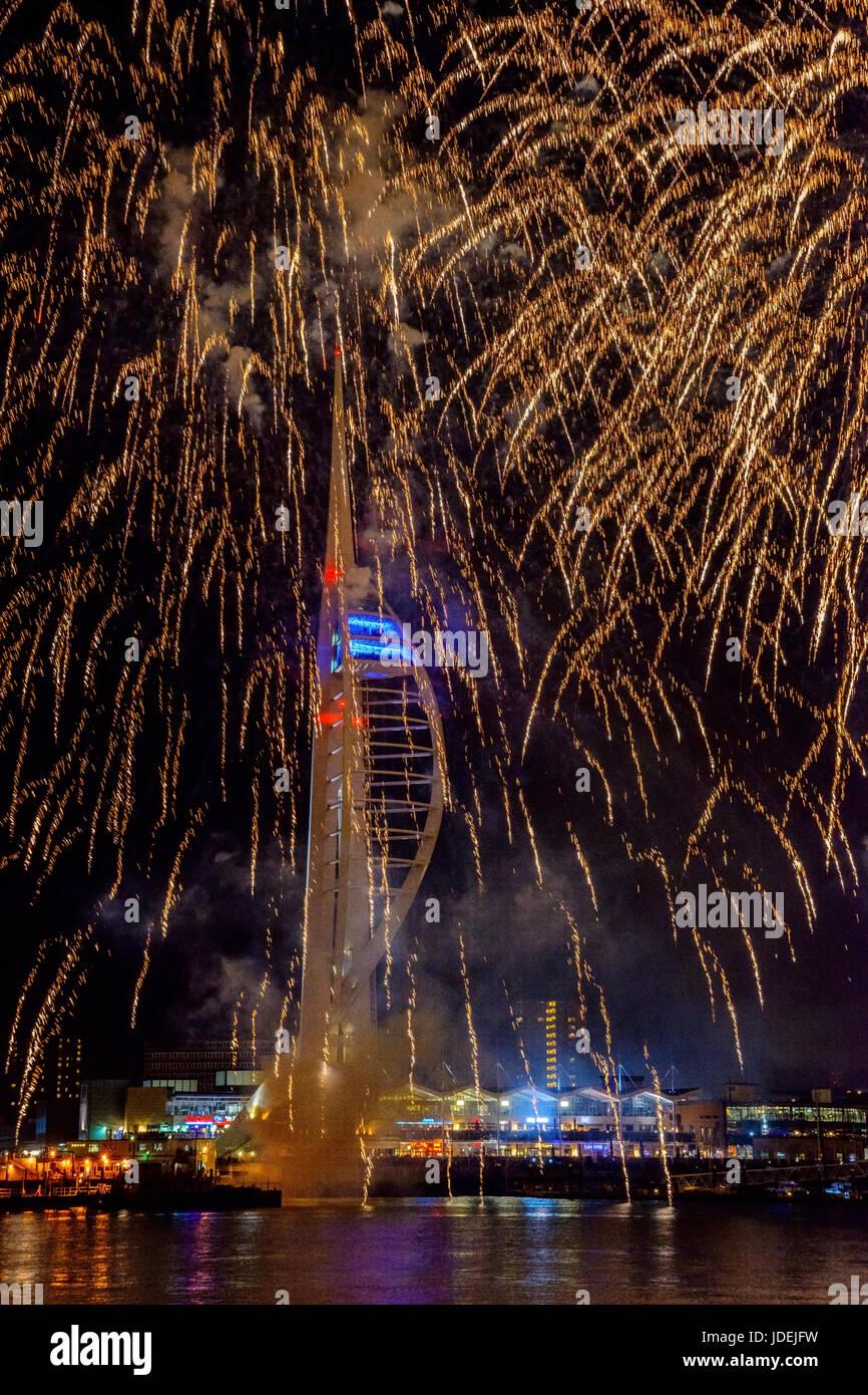Spinnaker festive firework at night Stock Photo