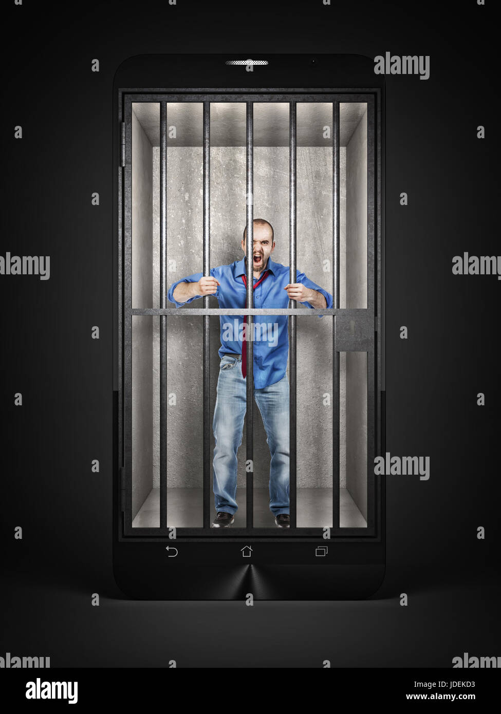 man imprisoned in a methaphoric smartphone jail 3d rendering image - Stock Image