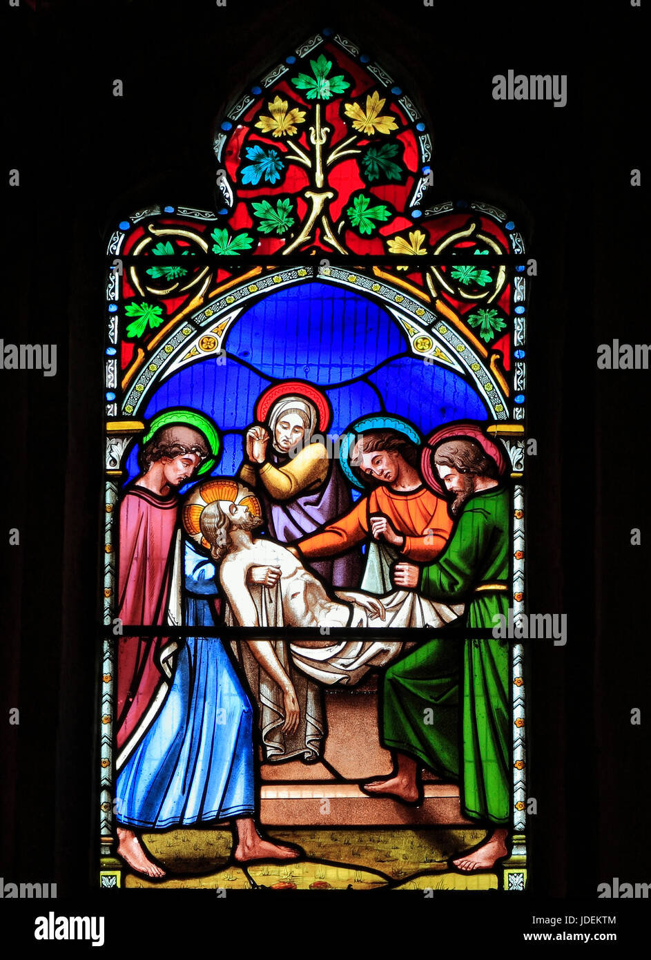 Story of Easter, Entombment of Jesus, stained glass window by William Warrington, 1854, Gunthorpe, Norfolk, England, - Stock Image