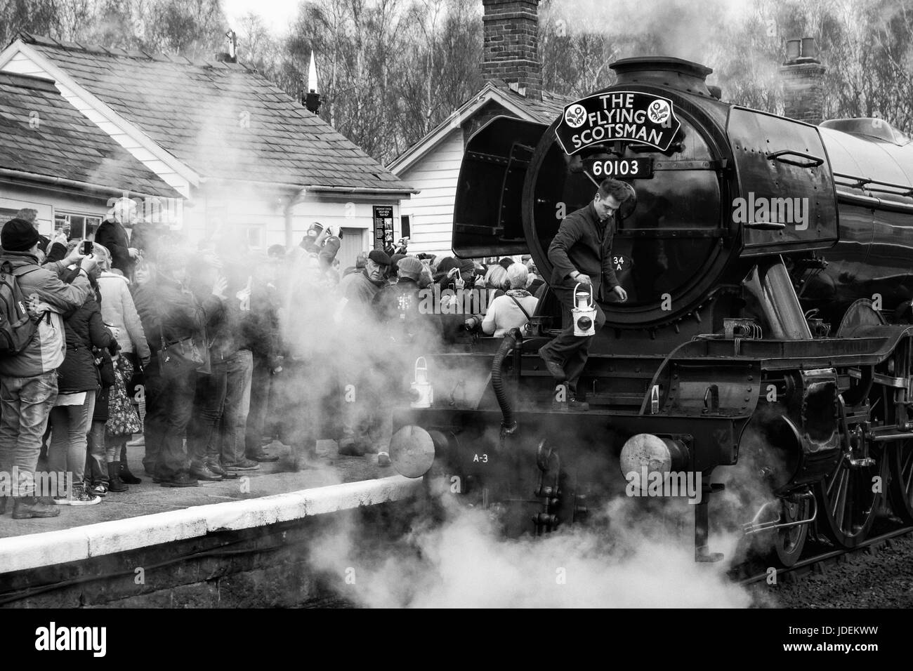 The Flying Scotsman train at Grosmont station in North Yorkshire, England, UK - Stock Image