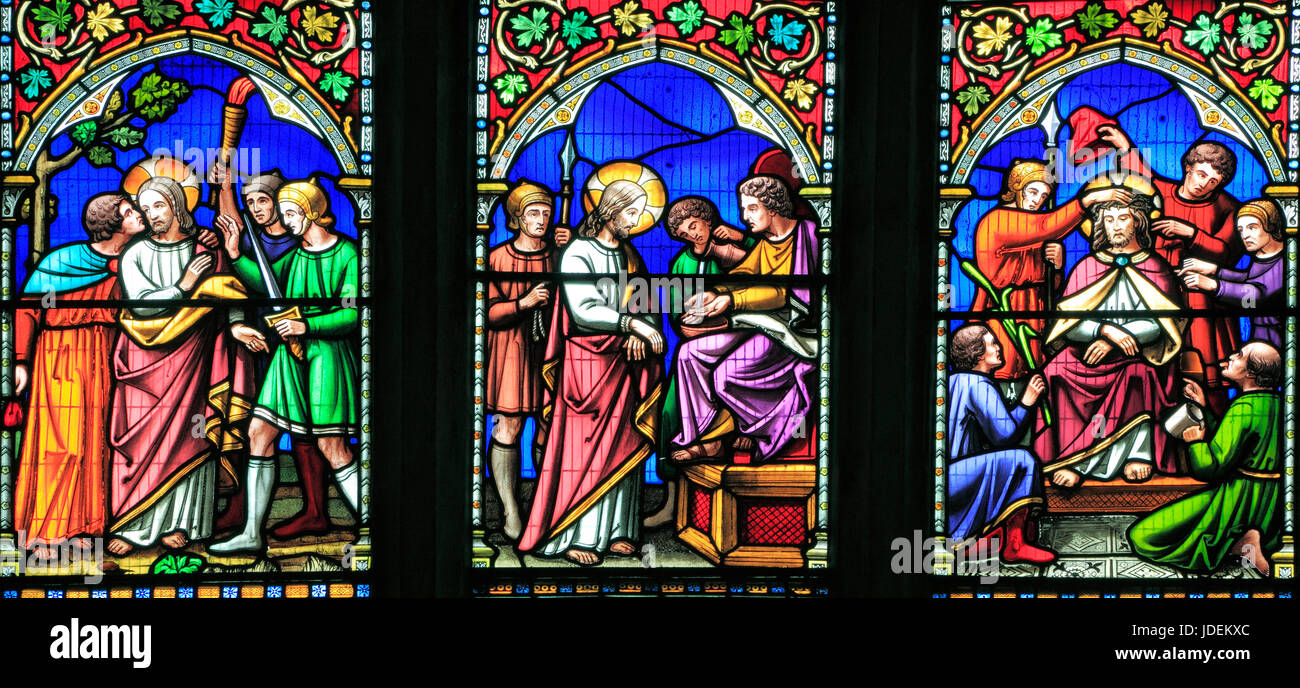 Story of Easter, Kiss of Judas, Judgement before Pilate, Crowning with Thorns, stained glass window by William Warrington, - Stock Image