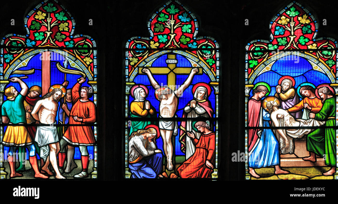 Story of Easter, Scourging of Jesus, The Entombment, stained glass window by William Warrington, 1854, Gunthorpe, - Stock Image